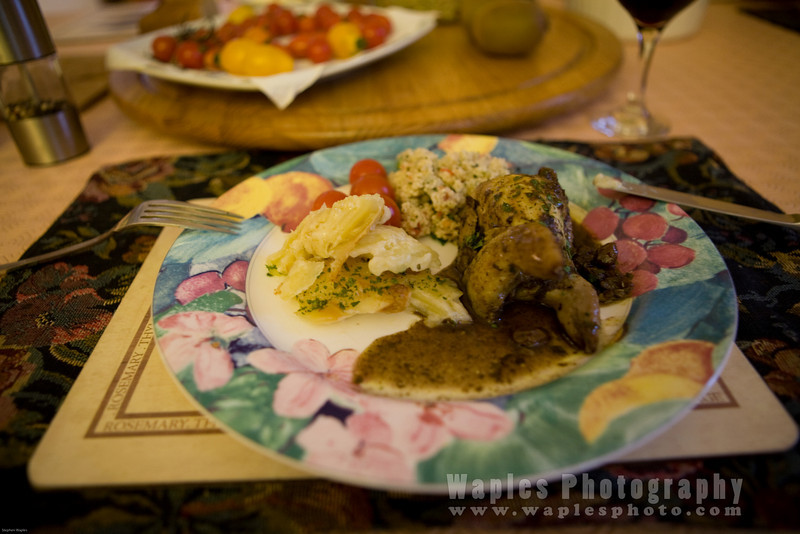 Roast Quail with Potatoes and Couscous