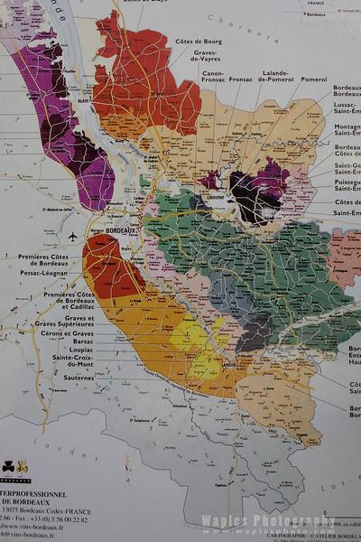 Map of the Bordeaux Wine Region