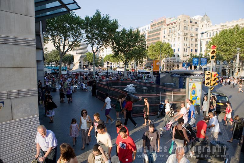 Tourist along La Placa de Catalunya