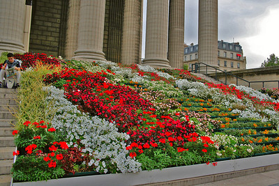 Masses of flowers on the steps leading into the church.
