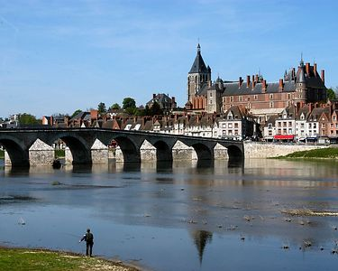Village of Beaulieu and a sixteenth century bridge.  Church of Joan of Arc is in the distance behind the Royal chateaux of the Loire valley which houses the International Museum of Hunting.