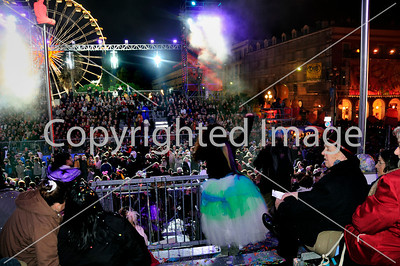 Nice, France, Public Events, Carnival Parade, Crowd Celebrating at Night