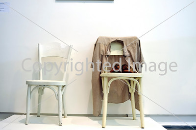 "Nice, France - Inside Views of Musee d'Art Moderne et d'Art Contemporain (MAMAC) Contemporary Arts Museum, Contemporary Art Exhibit in Nice School Room, Sculpture by Credit: G. Brecht, ""Deux Chaises, Chaussures et Chemise"" (Two Chairs, Shoes and Shirt)"