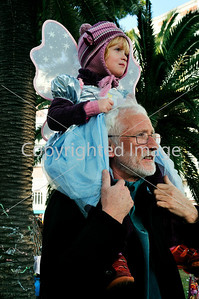 Nice, France, Public Events, Carnival Parade, Grandfather with Granddaughter on Shoulders in Costume, Watching parade in Crowd