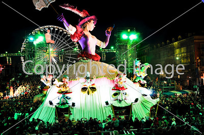 Nice, France, Public Events, Carnival Parade, Huge Floats on Street at Night