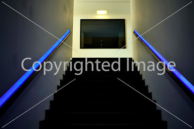 Nice, France - Inside Views of Musee d'Art Moderne et d'Art Contemporain (MAMAC) Contemporary Arts Museum, Architectural Detail, Central  Staircase, Neon Lighting