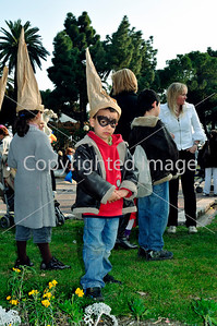 Nice, France, Public Events, Carnival Parade, Young BOy With paper Cone Hat and Painted Face, Standing in Crowd in Public Garden