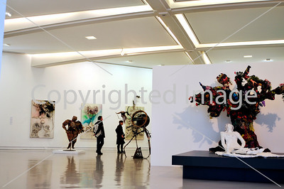 Nice, France - Inside Views of MusŽe d'Art Moderne et d'Art Contemporain (MAMAC) Contemporary Arts Museum, People Visiting Abstract Contemporary Sculptures in Art Gallery