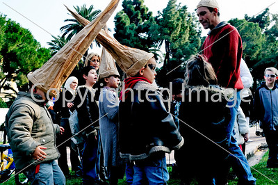 Nice, France, Public Events, Carnival Parade, Children Playing with Paper Hats in Public Garden