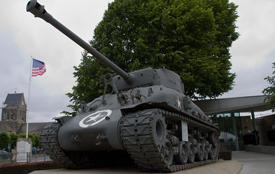 Sherman tank outside of the Airborne museum.  One note about Normandy...the locals, even today's generation, is still very appreciative about their liberation from the Nazi's.  American, Canadian, British and French flags fly everywhere.  However, I also saw many areas where just the American flag was flying.