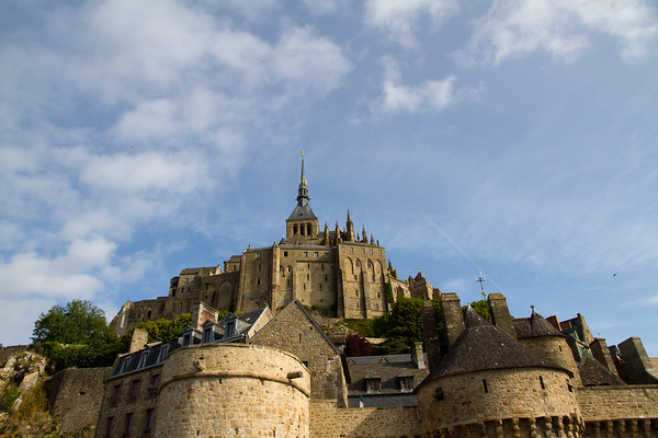 From the parking lot, image of the Abbey du Mont St. Michel