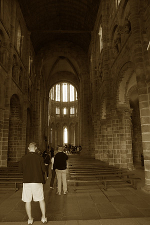 Inside a church at the abbey.