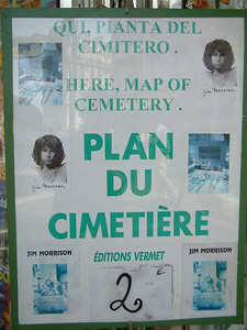 Jim Morrison -- Poster for the map of the Cemetery