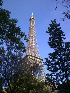 There it is!  We took the RER train from Notre-Dame to Champs des Mars, walking along Quai Branly to the famed tower.