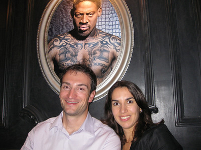 We sat beside each other for dinner tonight, because, well, because of that.  Who decorates their restaurant with a Dennis Rodman portrait?