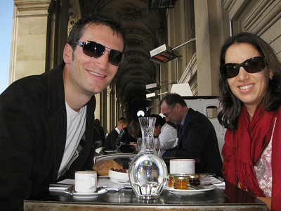 Julie picked this restaurant for her birthday. Cafe Marly is on a terrace overlooking the central plaza of the Louvre.