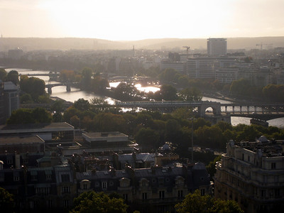 There goes our train, as the sun sets over the Seine.