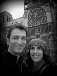 Taken outside the Cathedral. The large stained glass window is in the background.