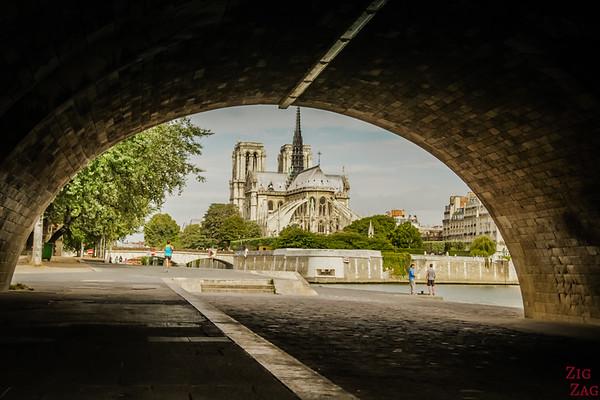 Best spot to photograph Notre Dame from: under Pont de la Tournelle, Paris