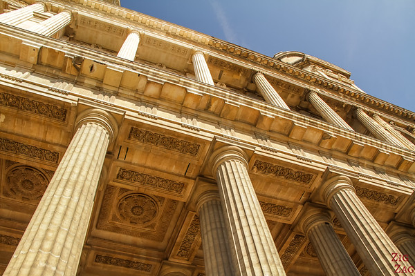 close up the facade of Saint Sulpice, Paris