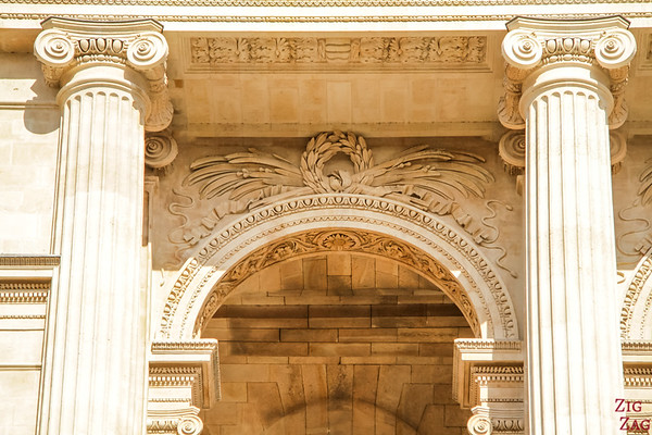 details of the facade of Saint Sulpice, Paris