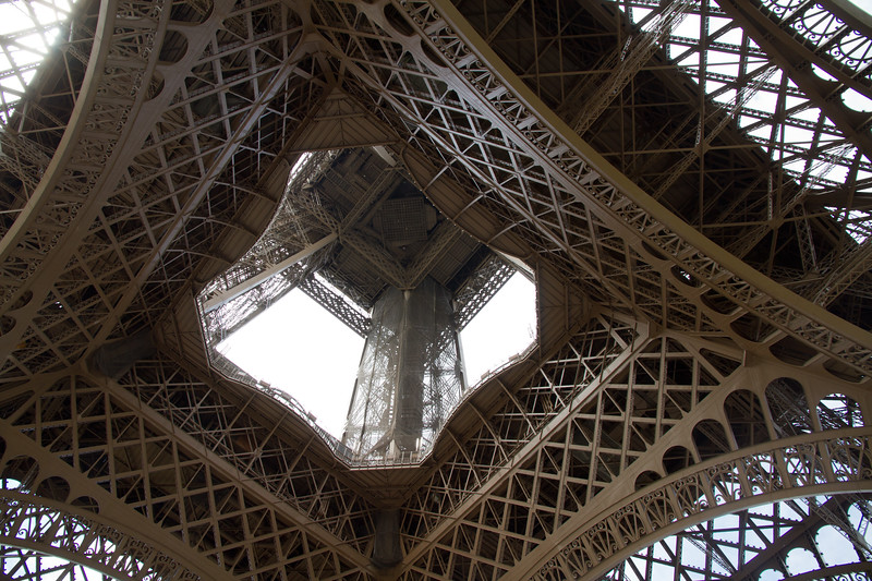 Under the Eifle Tower looking up.