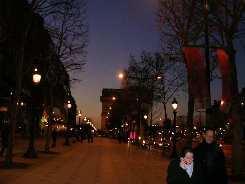 Walking down the Champs Elysee towards the Arch De Triumph.