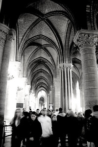 Inside Notre Dame in Black and White