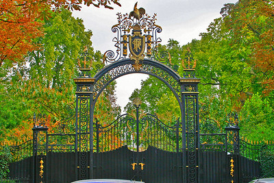 Entrance to Palais de l'elysee - there was a guard standing in front of these gates - official residence of the President of France.