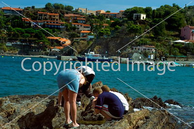 Collioure, France, South of France, Beach Scene with Group Teens Looking for Saefood on Rocks