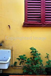 Nice, France - Architectural Detail, Antiques Shops, Village Segurane, Painted Shuttered Window and Yellow Wall