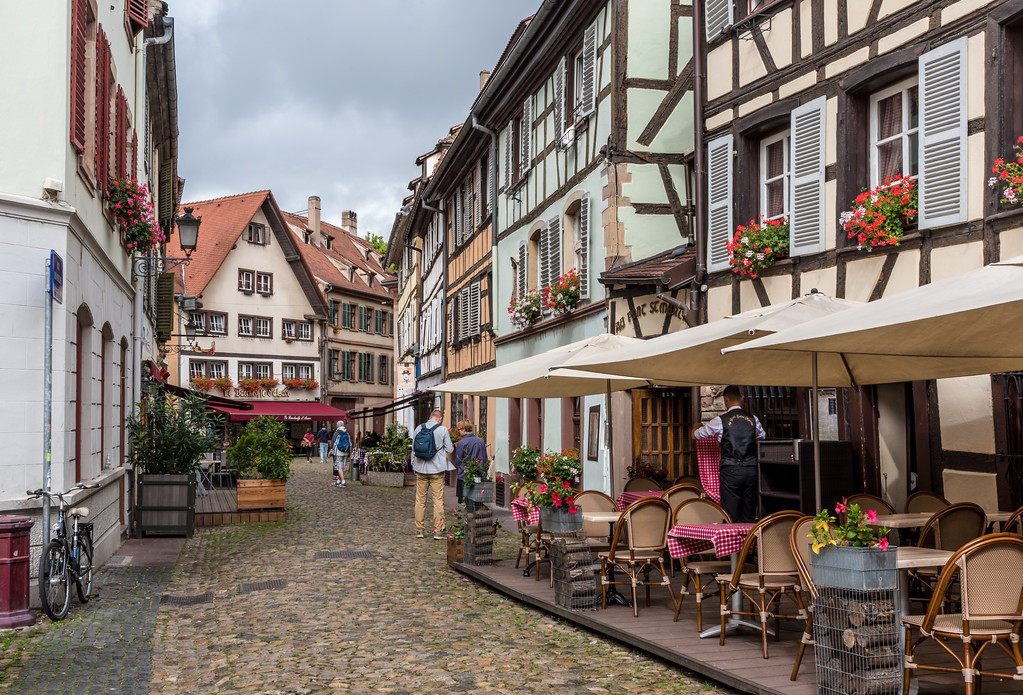 Cobbled street with pavement cafes, Petite France