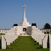 Tyne Cot Cemetery.<br /> The Cross of Sacrifice is built upon the original German blockhouse on this site.