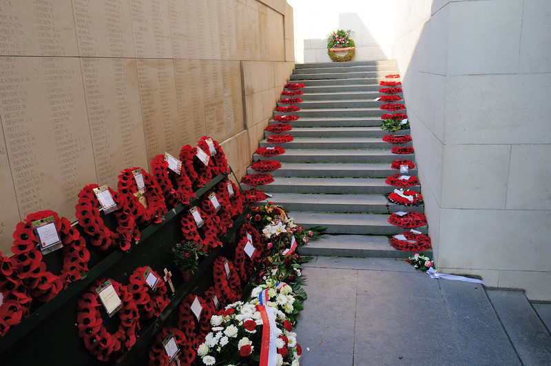 Poppy wreaths in remembrance