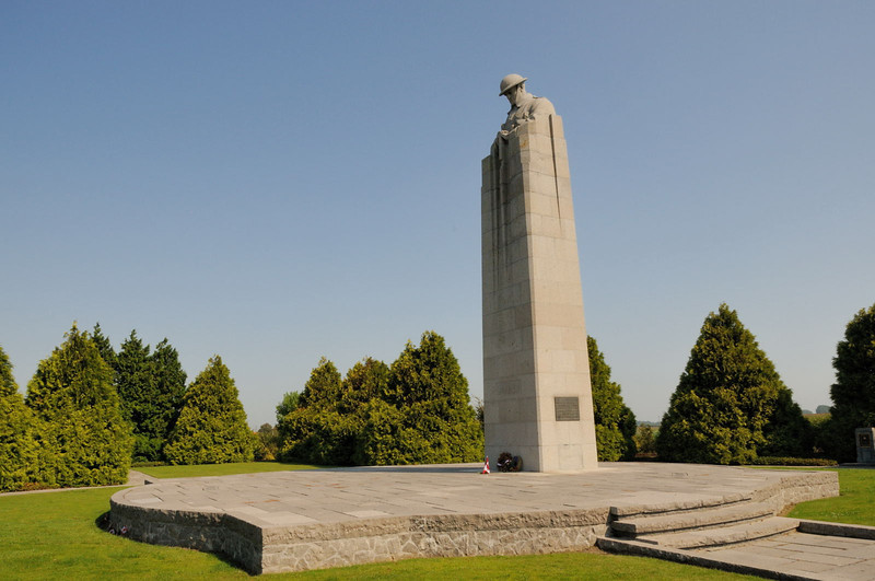 "<div style=""text-align: left;"">The St. Julien Memorial is a Canadian war memorial and small commemorative park located in the village of Saint-Julien, Belgium. The memorial commemorates the Canadian First Division's participation in the Second Battle of Ypres of World War I which included the defence against the first poison gas attacks along the Western Front. Frederick Chapman Clemesha's sculpture, the Brooding Soldier, was selected to serve as the central feature of the monument following a design competition organized by the Canadian Battlefield Monument Commission in 1920</div>"