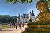 The entrance to Chateau Chenonceau is guarded by a sphinx.