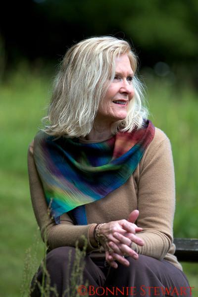 Bonnie Wachter models her scarf creation