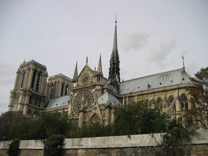 Notre Dame Cathedral taken from a boat on the Seine - JohnBrody.com