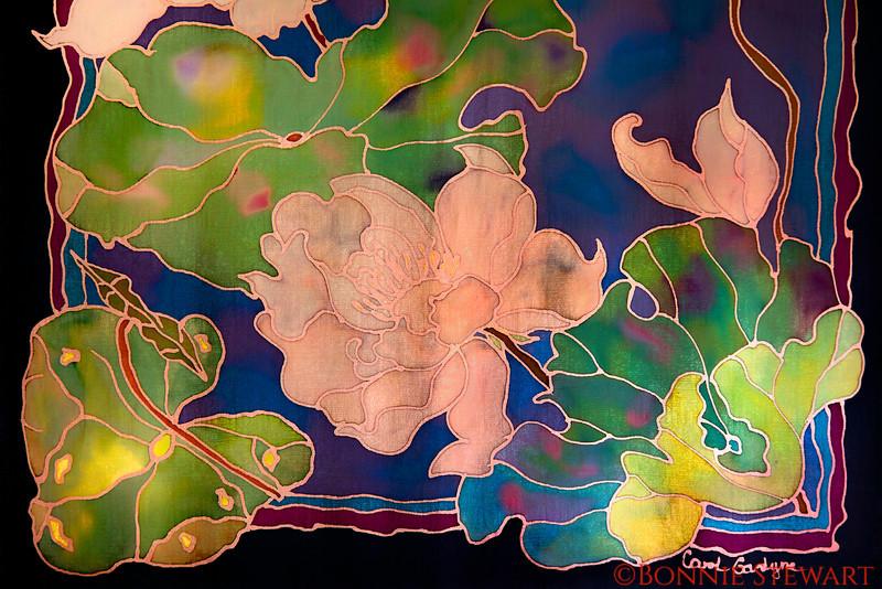 Silk scarf painted by Carol Gardyne