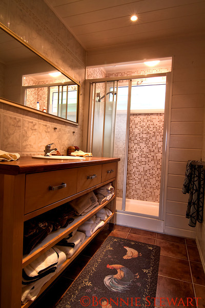 Two bedroom apartment bathroom in Carol's French country home