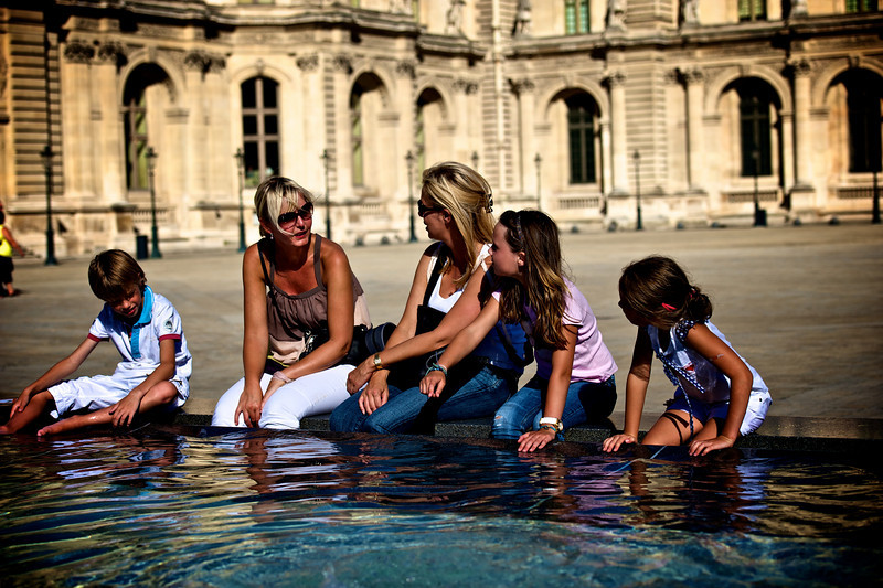 Enjoying the pools in front of the Louvre.