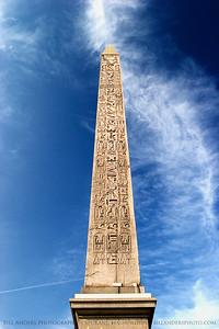 Obelisk of Luxor.  Champs de Elysee, Paris, France.
