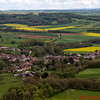 View from the Vezelay Church hill with yellow fields of Colza