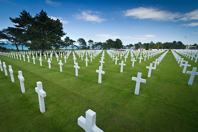 Some of the 9000+ grave markers at the American Cemetery in Normandy.