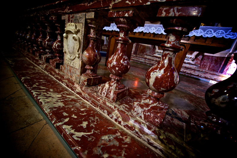 blood red marble in small church