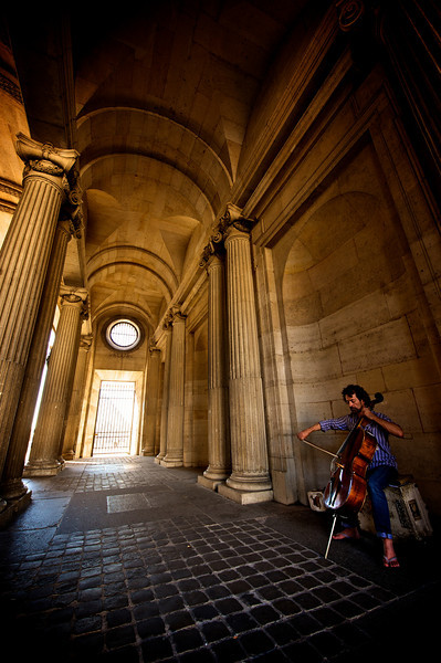 Beautiful music literally flows out of the outdoor halls of the Louvre.