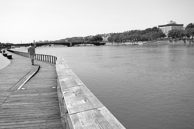 Lyon. Boardwalk along the Rhone River.