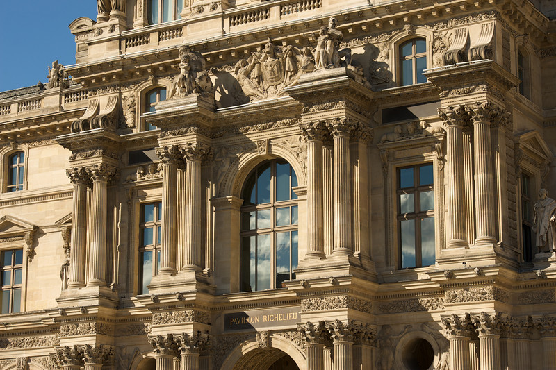 Just one of the many buildings that make up the massive and famous Musee du Louvre.