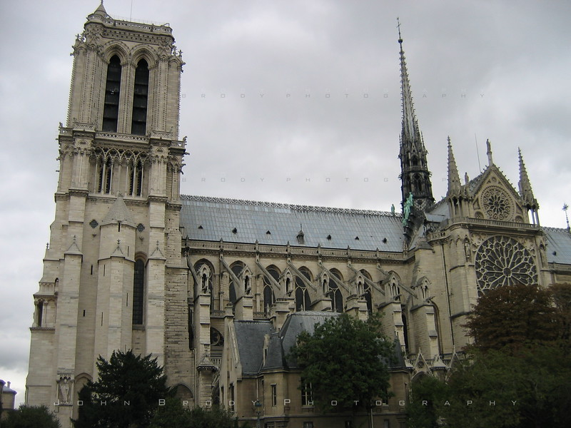Notre Dame Cathedral, Paris, taken from a boat on the Seine - JohnBrody.com