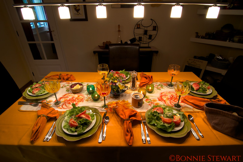 Beautiful table setting for Carol's gourmet cooking